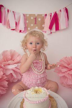 Shades of Pink Age Birthday Banner- High Chair Birthday Banner-Pink Rag Tie Garland- First Birthday Decor- Cake Smash Decor- Photo Prop