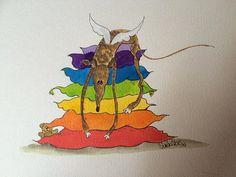Nellie Doodles A4 print - Rainbow cushions