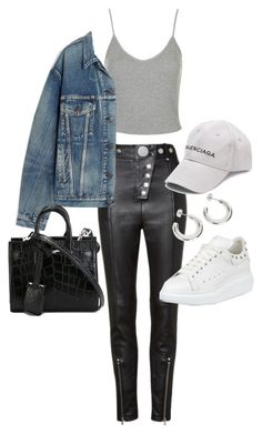 """Untitled #23557"" by florencia95 ❤ liked on Polyvore featuring Topshop, Alexander Wang, Balenciaga, Yves Saint Laurent and Alexander McQueen"