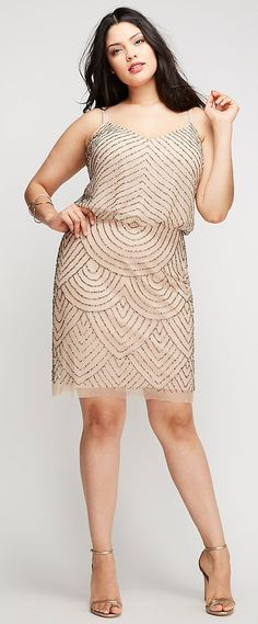 Available in Plus Size. Hello, Adrianna Papell channels the elegance of the art deco era in this beaded blousson dress. Hidden back zipper with hook-and-eye closure. ITEM Imported plus size dress, Sizes: 14 - Length: Plus Size Wedding Dresses With Sleeves, Plus Size Cocktail Dresses, Plus Size Dresses, Cute Dresses, Maxi Dresses, Party Dresses, Summer Dresses, Plus Size Fashion For Women, Plus Size Women