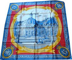 Castle of Vaux Le Vicomte in France, built by a minister of king Louis XIV,   silk scarf