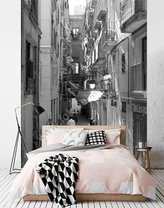Wall paper black and white for one bedroom Small Room Bedroom, Bedroom Decor, Interior Wallpaper, Rustic Industrial Decor, Minimalist Apartment, Wall Decor Quotes, Living Room Mirrors, Design Hotel, Guest Bedrooms