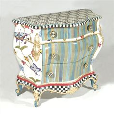 MacKenzie-Childs Butterfly Large Chest A charming, exuberantly handpainted chest features bursts of colorful stripes and a crewel-inspired pattern of butte. Whimsical Painted Furniture, Painted Chairs, Hand Painted Furniture, Funky Furniture, Paint Furniture, Upcycled Furniture, Unique Furniture, Home Decor Furniture, Furniture Makeover