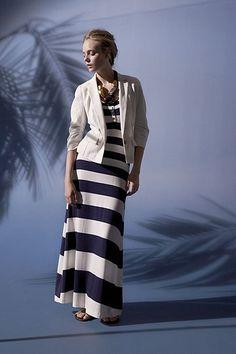 Nautical: striped dress, white blazer, red shoes. ;)