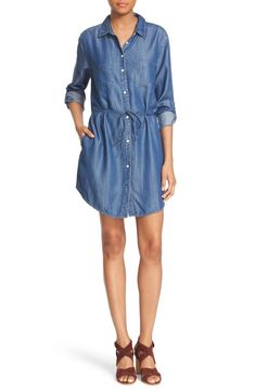 Currently crushing on this denim dress with roll-tab sleeves and a skinny tie at the waist. This darling piece would look fabulous paired with an over-sized hat and booties for a boho chic look.