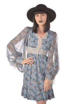 Satori 70s Angel Sleeve Blue Floral Print Corset Lace Dress