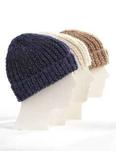 Bernat Family of Hats - can be made with Lion's Pride Woolspun Yarn. 10 inches in length makes a generous cuff for keeping ears warm.
