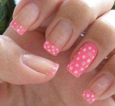 Black polish with white polka dot nail art. Nail Art Designs 2016, French Nail Designs, Pink Nail Designs, Nail Polish Designs, Nails Design, Pink Design, Get Nails, Love Nails, Pretty Nails