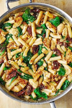 Asiago Chicken Pasta with Sun-Dried Tomatoes and Spinach
