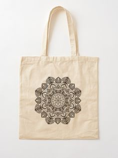 Black Mandala Pattern - Just Let Go Tote Bag Cotton Tote Bags, Reusable Tote Bags, Mandala Pattern, Chiffon Tops, Letting Go, Let It Be, Stuff To Buy, Accessories, Black