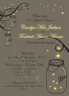 Mason Jar Fireflies Wedding Invitation--Don't like it for the wedding but maybe could use it for the program or an engagement invitation