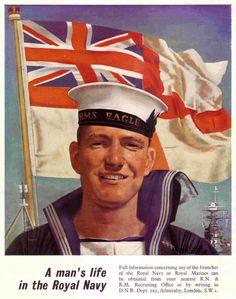 Royal Navy recruiting poster from World War Naval History, British History, Military History, Military Ranks, Military Style, Royal Navy Uniform, Royal Navy Recruitment, Joining The Navy, Navy Uniforms