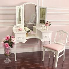 Vintage vanity table <3  https://www.thehunt.com/finds/EwPytk-shabby-cottage-chic-french-vintage-style-vanity-makeup-table-trifold-mirror