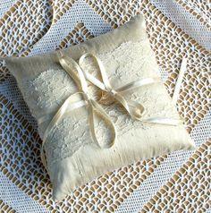 Wedding Ring Bearer Pillow in Champagne Raw Silk by WeddingLab, $59.00