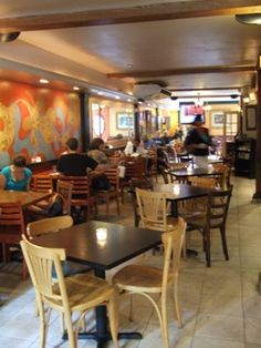 Haymarket Cafe, Northampton MA.  My old hangout in the '90s.  They have excellent hot chocolate and great smoothies.