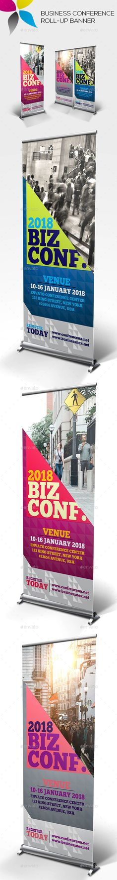Business Conference Roll-up Banner Design Template - Signage Ads Banner Print Template PSD. Download here: https://graphicriver.net/item/business-conference-rollup-banner/19318960?ref=yinkira