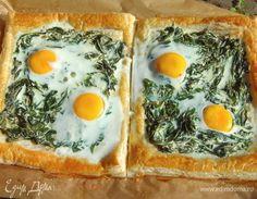Флорентийский пирог с яйцами и шпинатом. Ингредиенты: тесто слоеное бездрожжевое, яйца куриные, шпинат