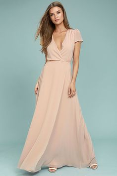 0a821ccf9578 Everything is looking up in the World on a String Blush Lace-Up Maxi Dress!  Lovely chiffon shapes a plunging surplice bodice with fluttering short  sleeves, ...