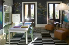 Fun, whimsical play room design with black chalkboard walls Ikea Stockholm Rand white & black rug, gray silk roman shades, green chairs, white table and orange slipper chairs & ottoman.