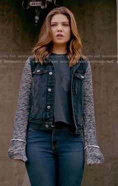 Davina's black denim jacket with grey knit sleeves on The Originals.  Outfit Details: http://wornontv.net/54235/ #TheOriginals