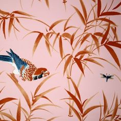 Pink & Orange Bamboo & Birds Wallpaper