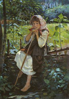К.Трутовський.Дівчинка у садку.