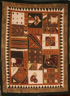 "African Batik Zimbabwe Tapestry Tablecloth Brown Gold Cream 60"" X 84"""