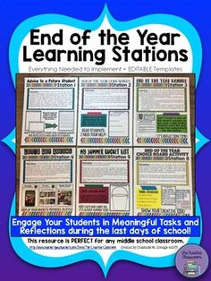 Are you looking for the perfect End of the Year activity that will engage your students in meaningful tasks and reflections during the last days of school? The End of the Year Learning Stations product, which contains over 80 pages of resources, is just what you are looking for!