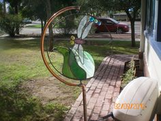 Copper & Stained Glass Dragonfly Spinner Yard Art