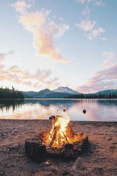 Nothing better than a fire next to a clam, serene lake.