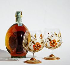 beautiful hand painted brandy glasses