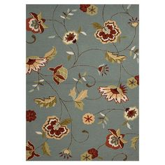 Floral indoor/outdoor rug.   Product: RugConstruction Material: PolypropyleneColor: Blue...
