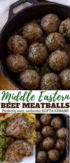 Middle Eastern Meatballs (Kofta Kebabs) - Dinner, then Dessert Middle Eastern Meatballs (Kofta Kebabs) made in 15 minutes with authentic middle eastern spices, just like the ground beef kebab you love at restaurants. Top Recipes, Greek Recipes, Indian Food Recipes, Cooking Recipes, Ethnic Recipes, Arabic Recipes, Cookbook Recipes, Rice Recipes, Recipes Dinner