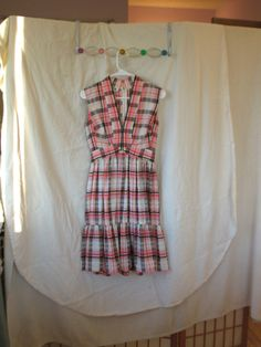 70s Victor Costa dress, XS petite dress, plaid dress, sleeveless dress, cotton dress, causal summer dress   Vintage 70s sleeveless plaid summer