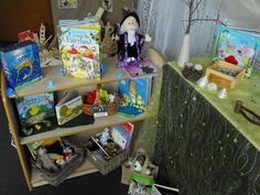 Reading area, carefully selected books and story props. Preschool Centers, Preschool Literacy, Preschool At Home, Learning Centers, Literacy Bags, Classroom Setup, Classroom Design, Preschool Classroom, Educational Activities For Kids