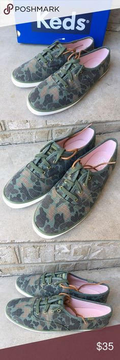 NWT KEDS Camo Ripstop Olive Sneaker Shoes Brand new with box - come with two pairs of laces. Perfect for any outfit. Price is firm, no trades please. Happy shopping! :) Keds Shoes Sneakers