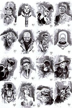 Mad Hatter, Rha's Algul, Harley Quinn, Two-Face, Killer Croc *shivers*, Hush, Joker, Mr. Freeze, Catwoman, The Riddler, Bane (broke Batman's back!) Scarecrow, Penguin, Poison Ivy, Clayface, annnnd Man Bat!