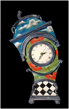 Lost In Time by Ross Emerson.  A Unique fantast clock ...  looks like it may have been in Alice in Wonderland!