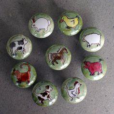 HAND PAINTED KNOBS - custom handpainted ceramic animal cabinet drawer knobs