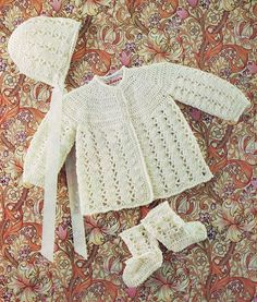 matinee coat and baby bonnet  vintage baby crochet pattern PDF