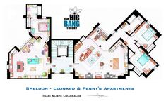 Sheldon, Leonard and Penny Apartments from TBBT by ~nikneuk on deviantART