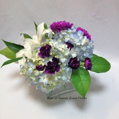 Hydrangea centerpiece inspiration - dont like purple but like the look of this