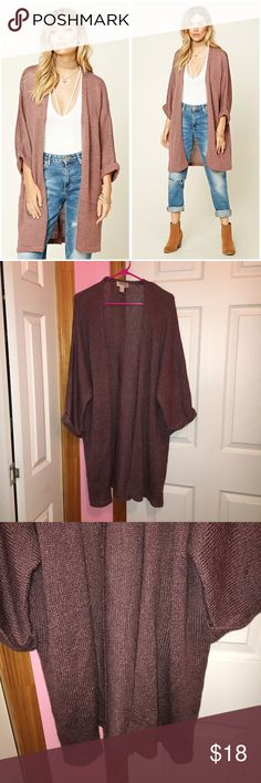 Forever 21 Mauve Open Front Cardigan Worn once. Color is mauve. Color is darker mauve than is shown in the stock photo. Ribbed knit cardigan. Drapey open front. 3/4 sleeves. 100% acrylic. Stock photos from Forever 21. ❌NO TRADES❌ Forever 21 Sweaters Cardigans