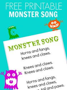 FREE printable monster song for preschool or camp.