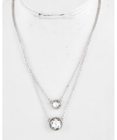 439545 Rhodiumized / Clear Glass / Lead&nickel Compliant / Round / Multi Row / Necklace