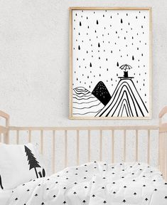 Rain Wall Art Under The Umbrella Kids Room Print Mountain