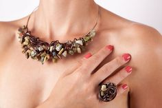 Terra Style Wire Wrapped Jewelry Set via Etsy I love this style!  Chunky and organic... Yeah!