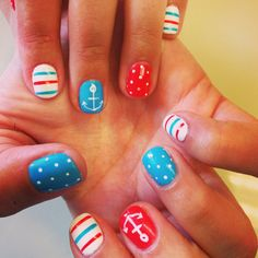 Cute nautical nails with anchors, stripes, and dots