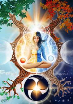The Wheel of Life symbolizes the natural cycles of life. the tides, day/night, the seasons. By learning to live in a harmonious flow with all of lif. Wheel Of Life Tarot, Chakras, Wheel Of Life, Psy Art, Visionary Art, Oracle Cards, Sacred Geometry, Mother Earth, Fantasy Art
