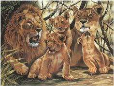 """Paint By Number Kit 12""""X15-1/2""""-Pride Of Lions   SongbirdCrafts - Art Supplies on ArtFire"""